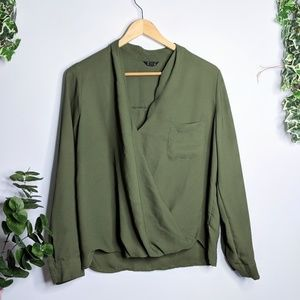 Topshop | Olive Green Faux Wrap Top Popover Blouse